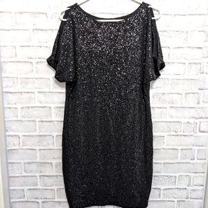 Anne Klein Sequin Cold Shoulder Dress Size 4